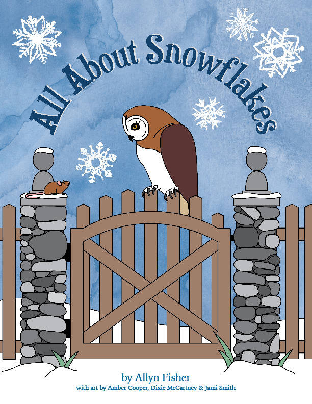 Book cover illustration of an owl and a mouse in the snow