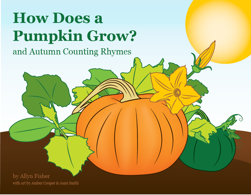 Book cover illustration of a pumpkin ripening on the vine