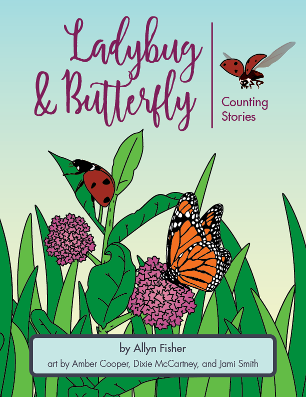 Book cover illustration of a ladybug and a butterfly among flowers