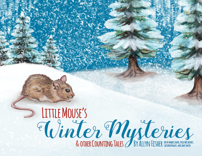 Book cover illustration of a little mouse in the snow