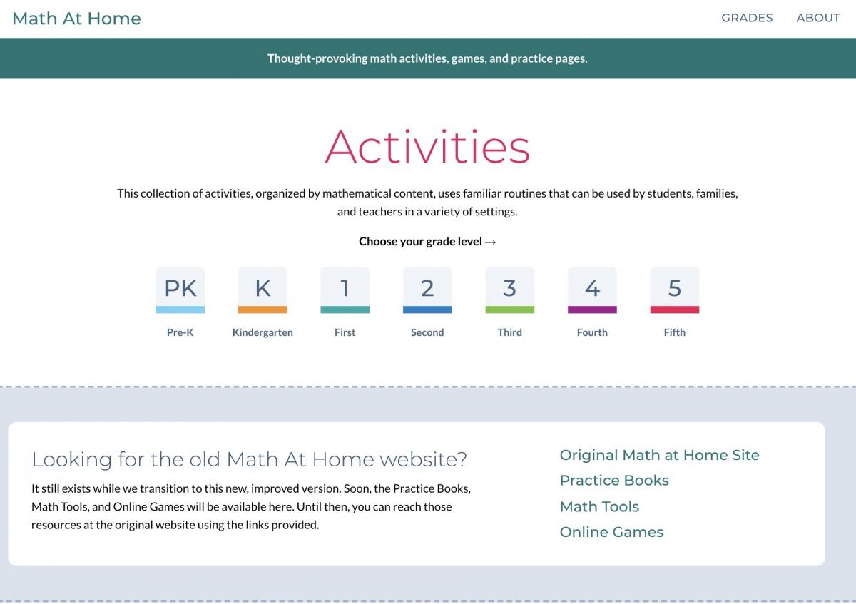 Math at Home site