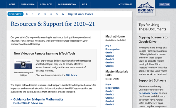 Screenshot of Bridges Educator Site's Resources and Support page for 2020-21 school year